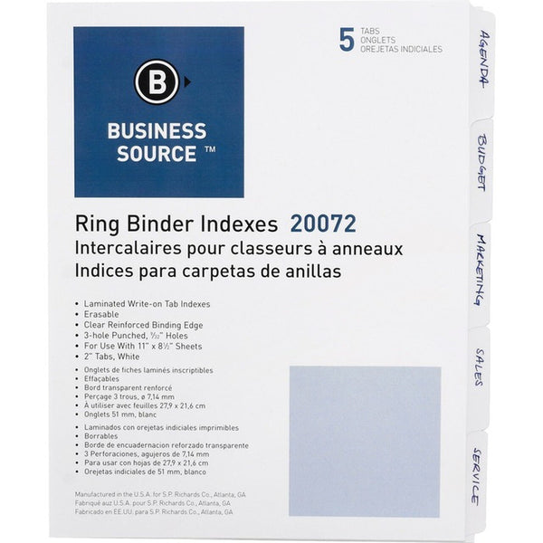 3-ring and 5-ring erasable tabbed index Business Source - 5 / set (BSN20072)