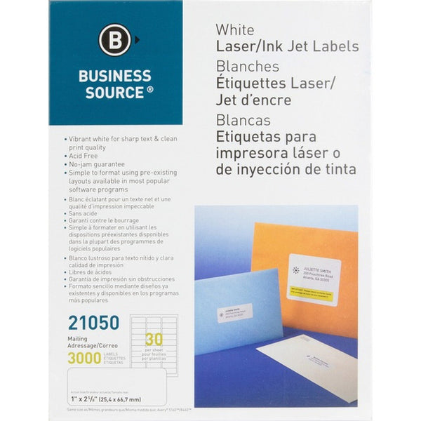 Business Source Glossy White Premium Address Labels - 3000 / package (BSN21050)