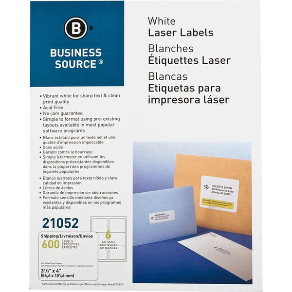Business Source Glossy White Premium Address Labels - 600 / packet (BSN21052)