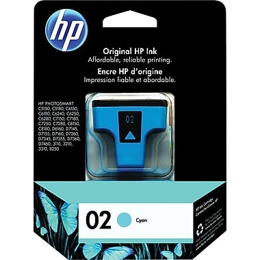 HP® – Cartouche d'encre 02 cyan rendement standard (C8771WN) - S.O.S Cartouches inc.