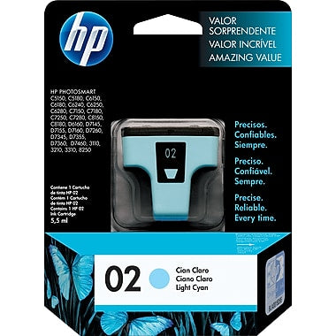 HP® – Cartouche d'encre 02 cyan claire rendement standard (C8774WN) - S.O.S Cartouches inc.