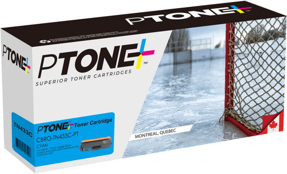 Brother TN433 cartouche cyan toner produit ptone® compatible avec brother-1/paquet. - S.O.S Cartouches inc.