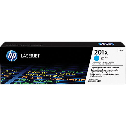 HP201X CF401x cartouche toner cyan version à haut rendement de 201A CF400A produit originale HP-1/paquet. - S.O.S Cartouches inc.