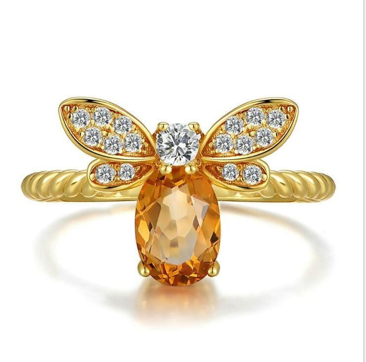 Queen Bee Natural Citrine Ring in Sterling Silver