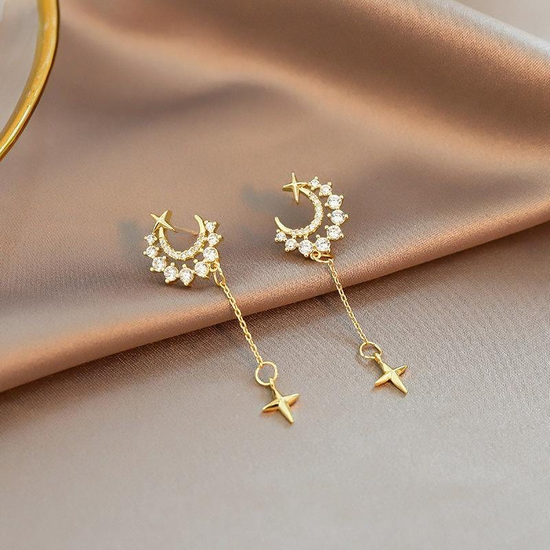 Crescent Moon & Star Zircon Earrings in 925 Sterling Silver