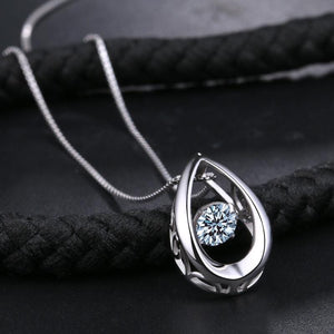 Drop-shaped Crystal Pendant Necklace