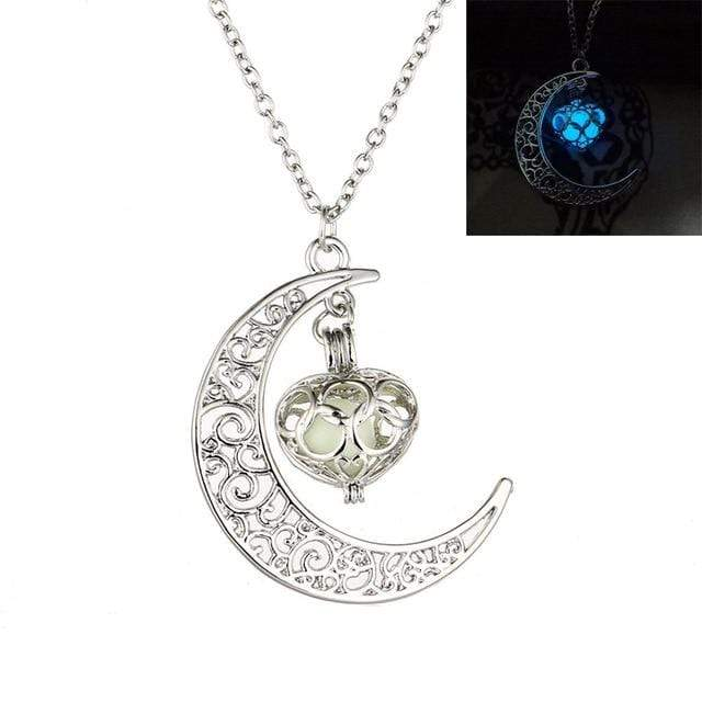 Crescent Moon Necklace with Luminous Pumpkin Pendant