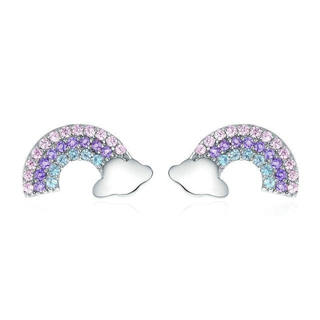 Silver Zircon Rainbow Earrings