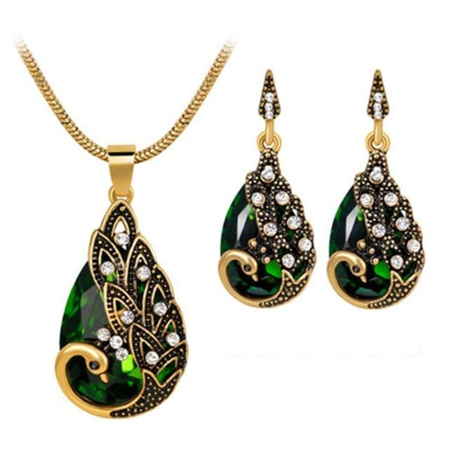 Peacock Necklace & Earrings Set