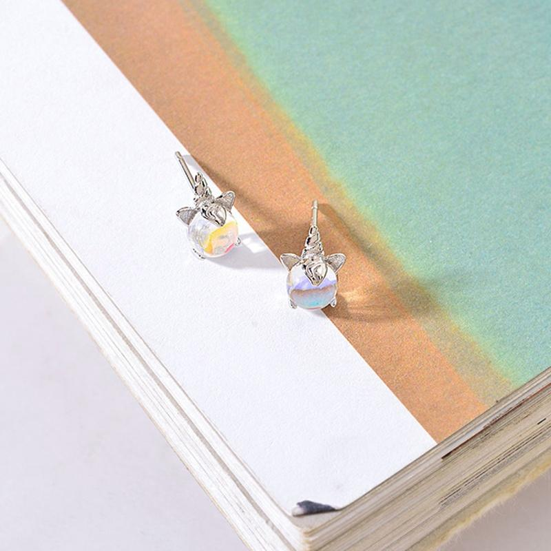 Silver Unicorn Opal  Earrings