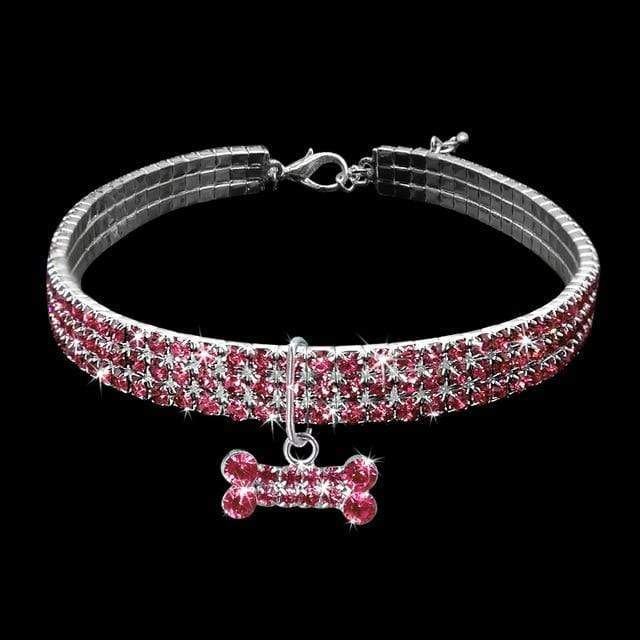 Bone Rhinestone Expandable Necklace Collar for Cats & Dogs