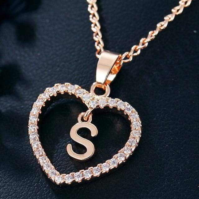 Custom Initial Zircon Heart Necklace