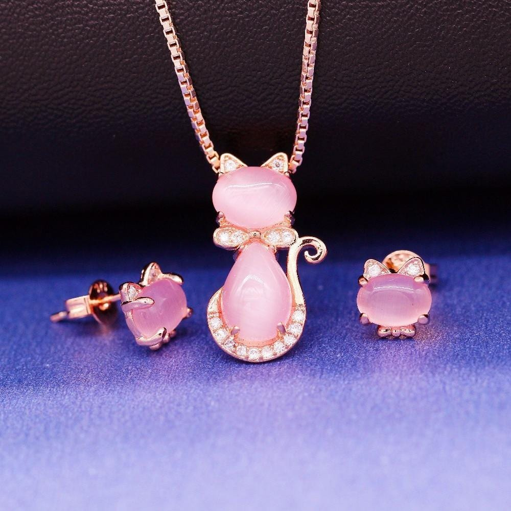 Pink Opal Cat Necklace Ring & Earrings Set in Platinum Plating