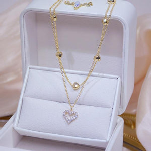 Double Layered Zircon Heart Necklace in 14k Gold Plating