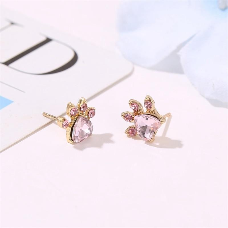 Natural Zircon Cat Paw Jewelry Set