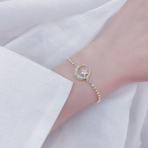 Crescent Moon & Star Bracelet in 14k Gold Finish