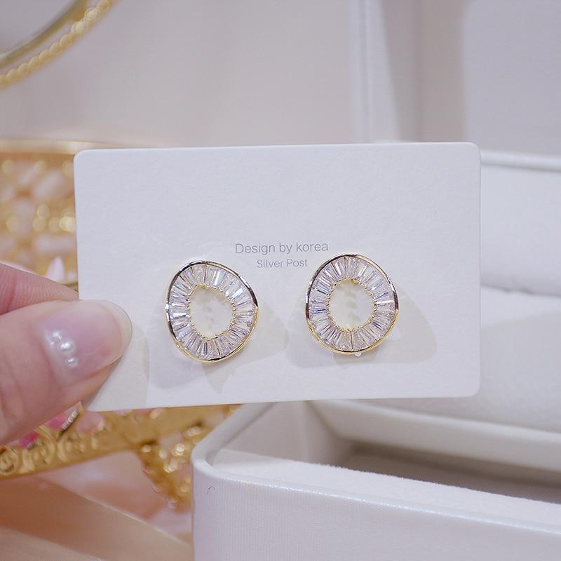 14k Gold Filled Irregular Circle Zircon Earrings