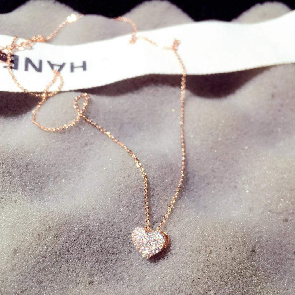 Zirconia Heart Necklace in 14k Gold Finish