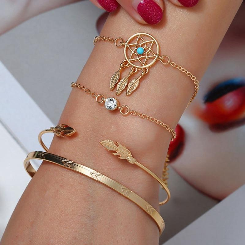 Bohemian Dream Catcher Bracelet 4pc Set