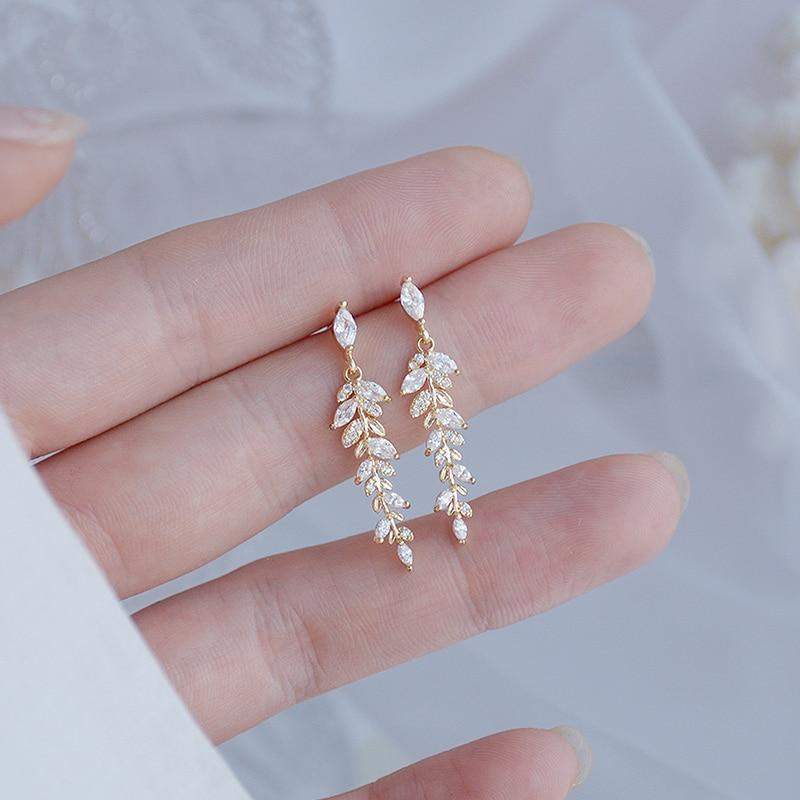 "14k Gold Filled ""Frosty Leaf Branch"" Zircon Earrings"