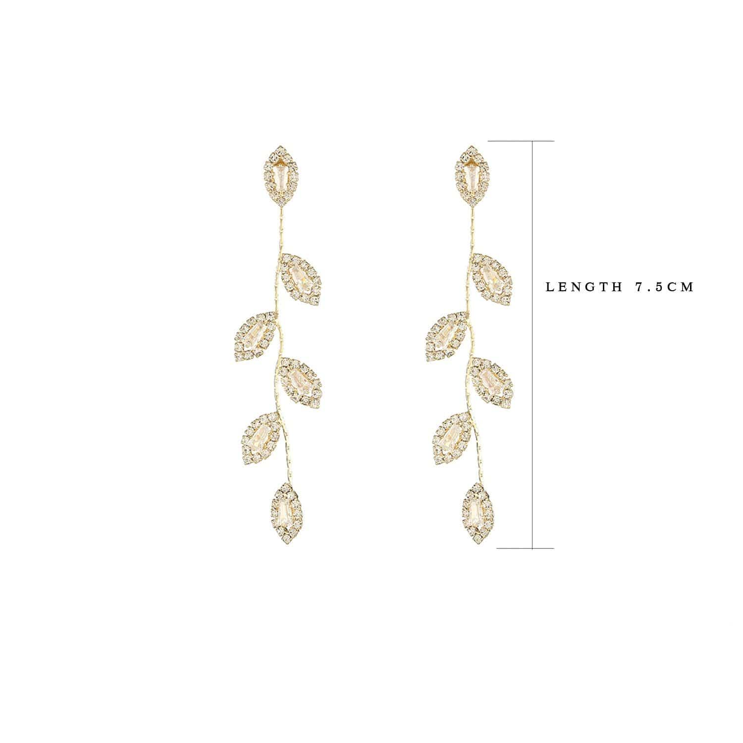 "14k Gold Filled ""Wild Leaf"" Zirconia Earrings"