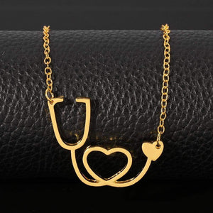 Stethoscope Heart Necklace in 18k Gold Plating