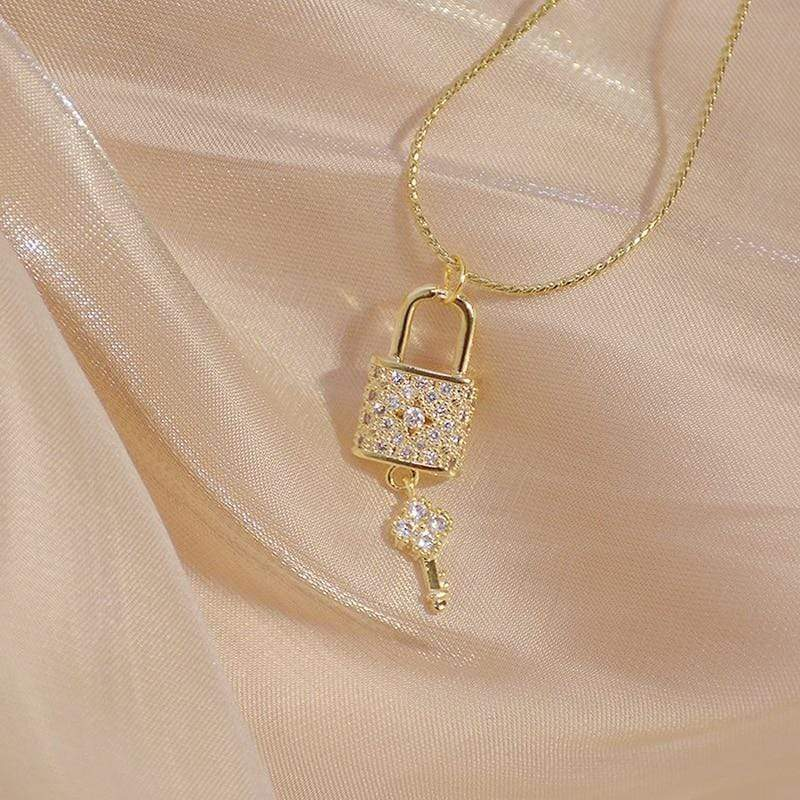 14K Gold Filled Zirconia Lock & Key Necklace