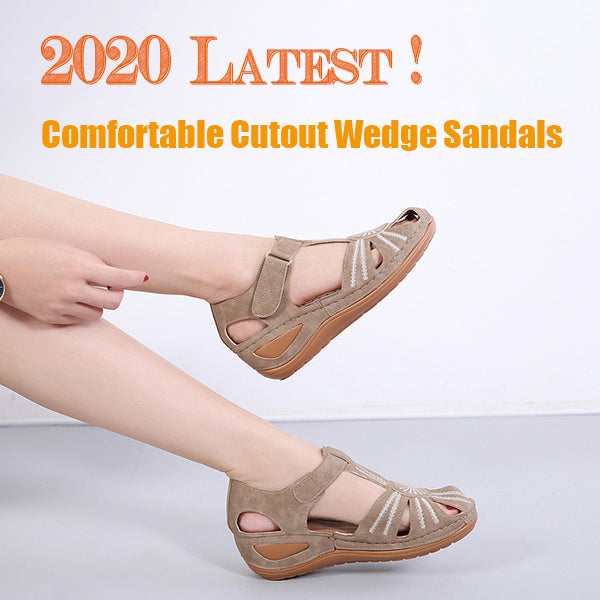 2020 Latest Women's Comfortable Cutout Wedge Sandals