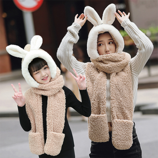 Rabbit Hat&Gloves&Scarf Three Pieces