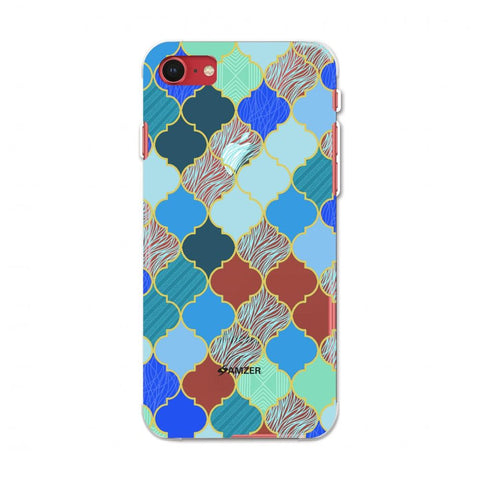 Stained glass- Carribean blue Soft Flex TPU Case For Apple iPhone SE 2020