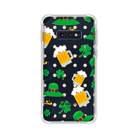 Shamrock, hats, beer and potluck - Green Soft Flex Tpu Case For Samsung Galaxy S10e