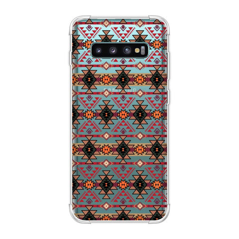 Tribal tessellations- Forest green and fire red Soft Flex Tpu Case For Samsung Galaxy S10 Plus