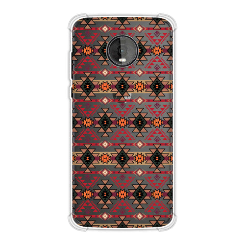 Tribal tessellations- Forest green and fire red Soft Flex Tpu Case For Motorola Moto Z4