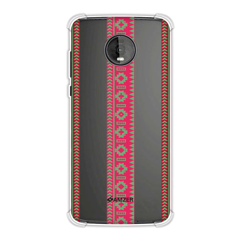 Tribal patterns and solids- Aquamarine and awesome pink Soft Flex Tpu Case For Motorola Moto Z4