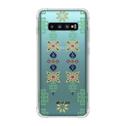 Tribal motif placement- Hot pink and bright teal Soft Flex Tpu Case For Samsung Galaxy S10 Plus