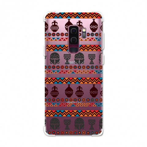 Masks and pottery- Pink and grey Soft Flex TPU Case For Samsung Galaxy S9 Plus