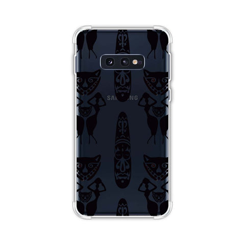 Tribal murals- Black and beige Soft Flex Tpu Case For Samsung Galaxy S10e