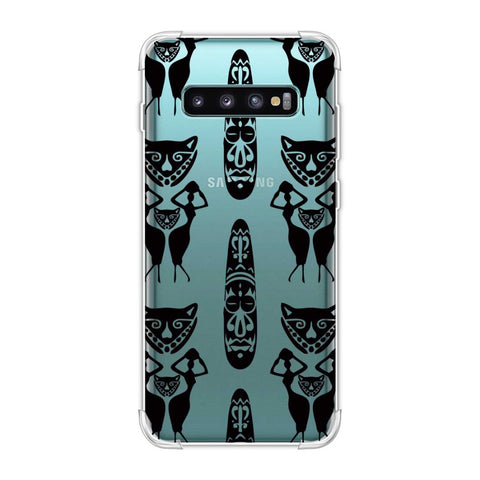 Tribal murals- Black and beige Soft Flex Tpu Case For Samsung Galaxy S10 Plus