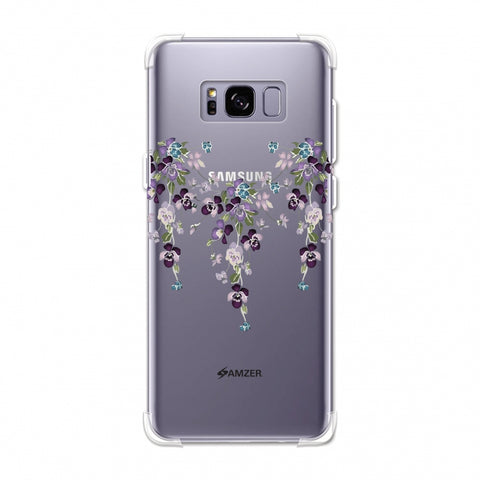 Butterfly poppy- Violet and pale pink Soft Flex TPU Case For Samsung Galaxy S8 Plus