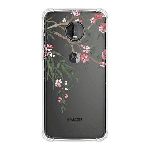 Posterised florals- Red and pale yellow Soft Flex Tpu Case For Motorola Moto Z4