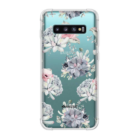 Watercolour flowers- Blue and pink Soft Flex Tpu Case For Samsung Galaxy S10 Plus