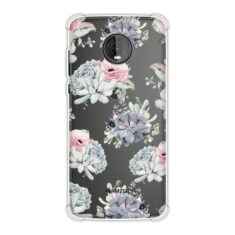 Watercolour flowers- Blue and pink Soft Flex Tpu Case For Motorola Moto Z4