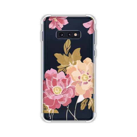 Poster floral and textured leaves- Begonia Soft Flex Tpu Case For Samsung Galaxy S10e