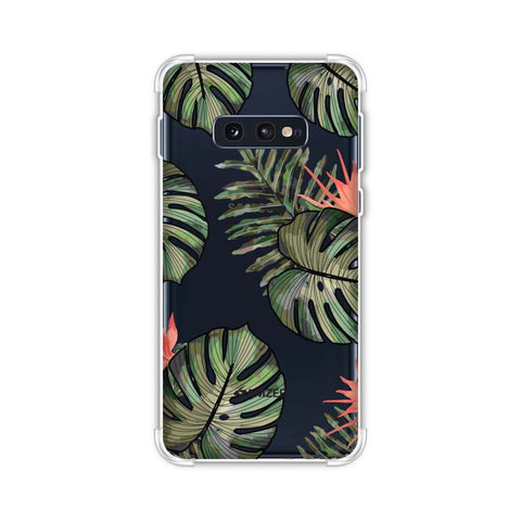 Leaves Over Stripes - Plum Soft Flex Tpu Case For Samsung Galaxy S10e