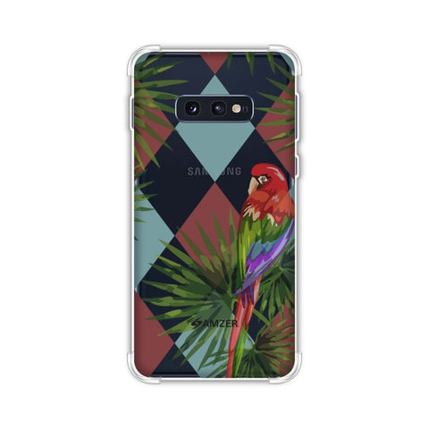 Parrot and Palm - Red and Light Blue Soft Flex Tpu Case For Samsung Galaxy S10e