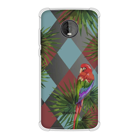 Parrot and Palm - Red and Light Blue Soft Flex Tpu Case For Motorola Moto Z4