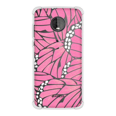 Butterfly - Pink And White Poster Fibre Wing Soft Flex Tpu Case For Motorola Moto Z4