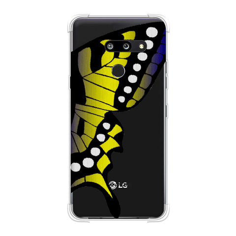 Butterfly - Fibre Wings Gradation - Mustard To Blue Soft Flex Tpu Case For LG G8 ThinQ