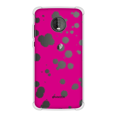 Dalmatian - Black Polka Spots On Pink Soft Flex Tpu Case For Motorola Moto Z4