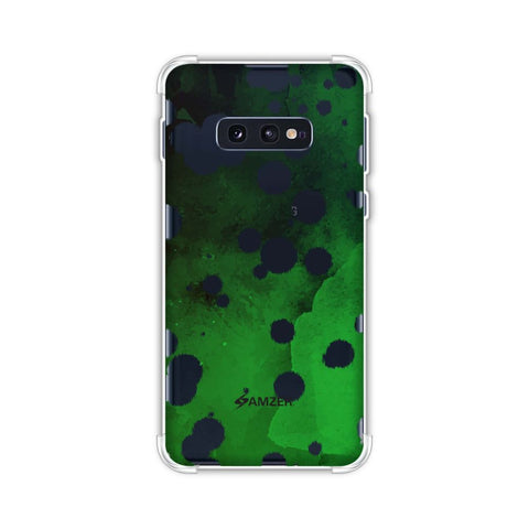 Dalmatian - White Brushed Polka Spots On Green Watercolour Soft Flex Tpu Case For Samsung Galaxy S10e